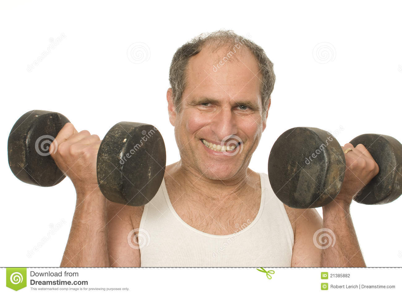 Senior Man Working Out Dumbbell Weights Stock Photography ...
