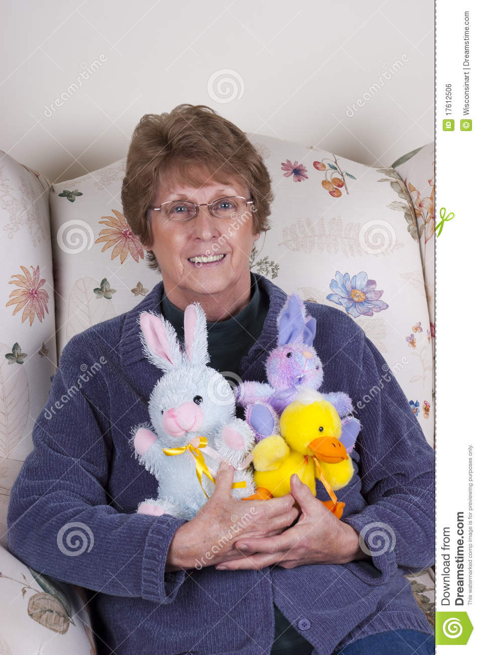 Toys For Seniors : Senior mature woman easter bunny stuffed toys royalty free