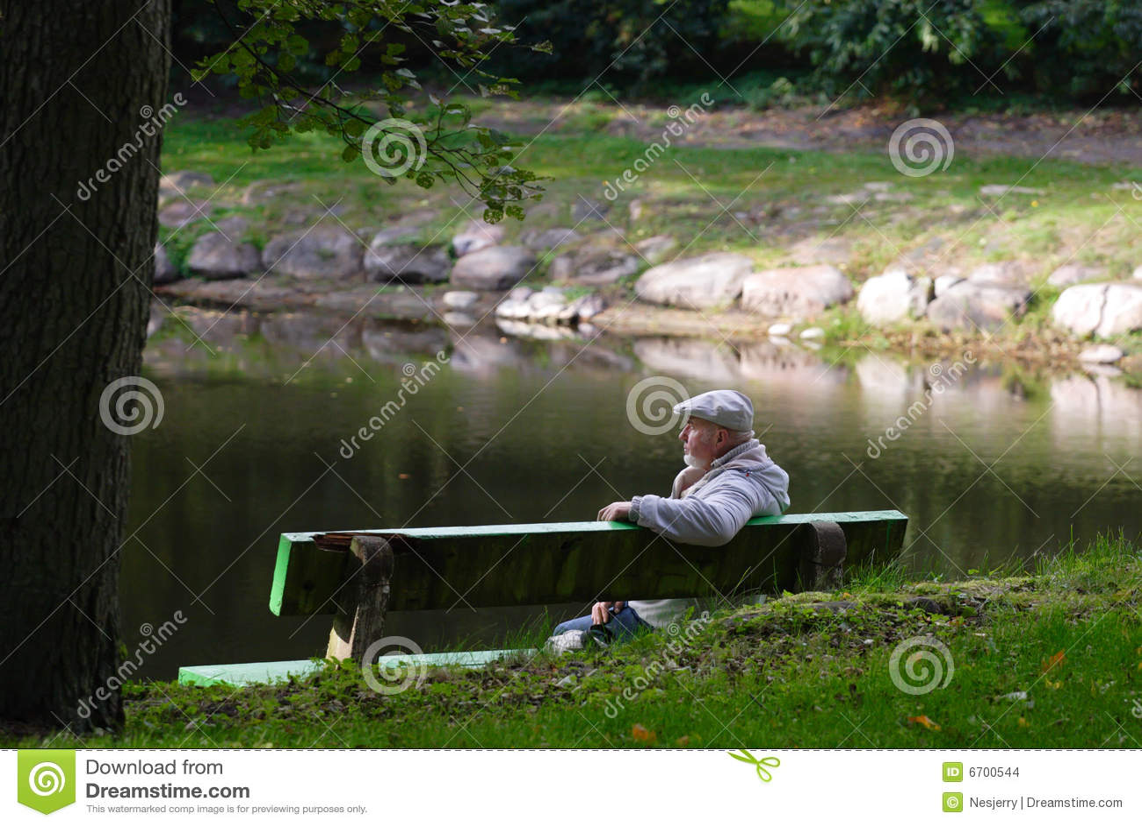 Senior men sitting on a bench