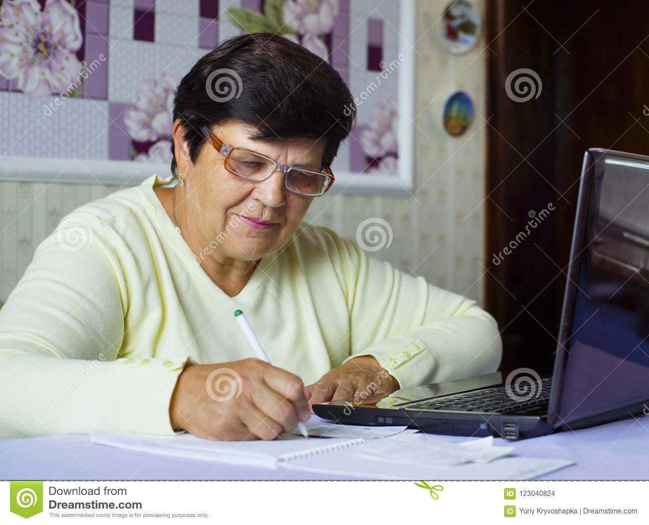 b418e0bf80 Senior old woman in eyeglasses checking costs of daily expenses on laptop  at home