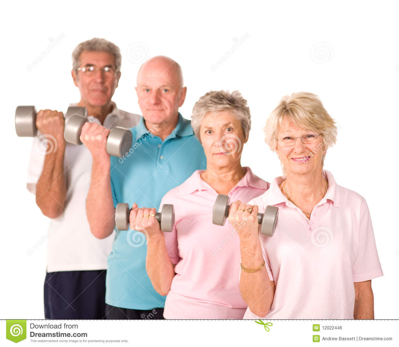 mature older people lifting weights stock photography