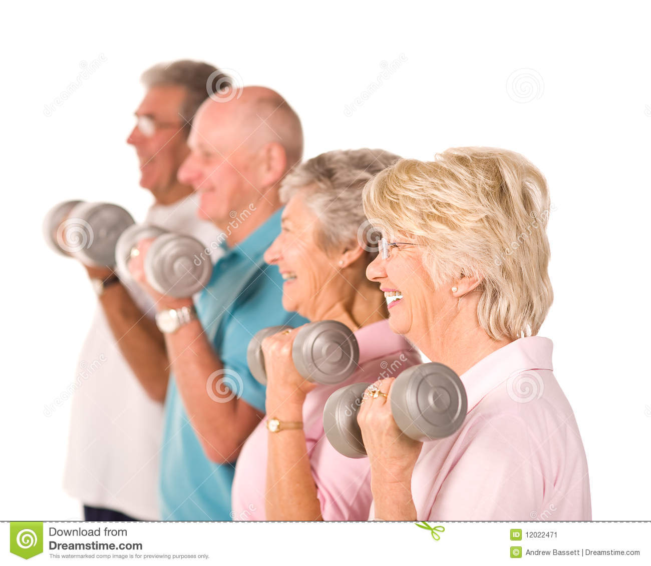 senior older people lifting weights stock image image