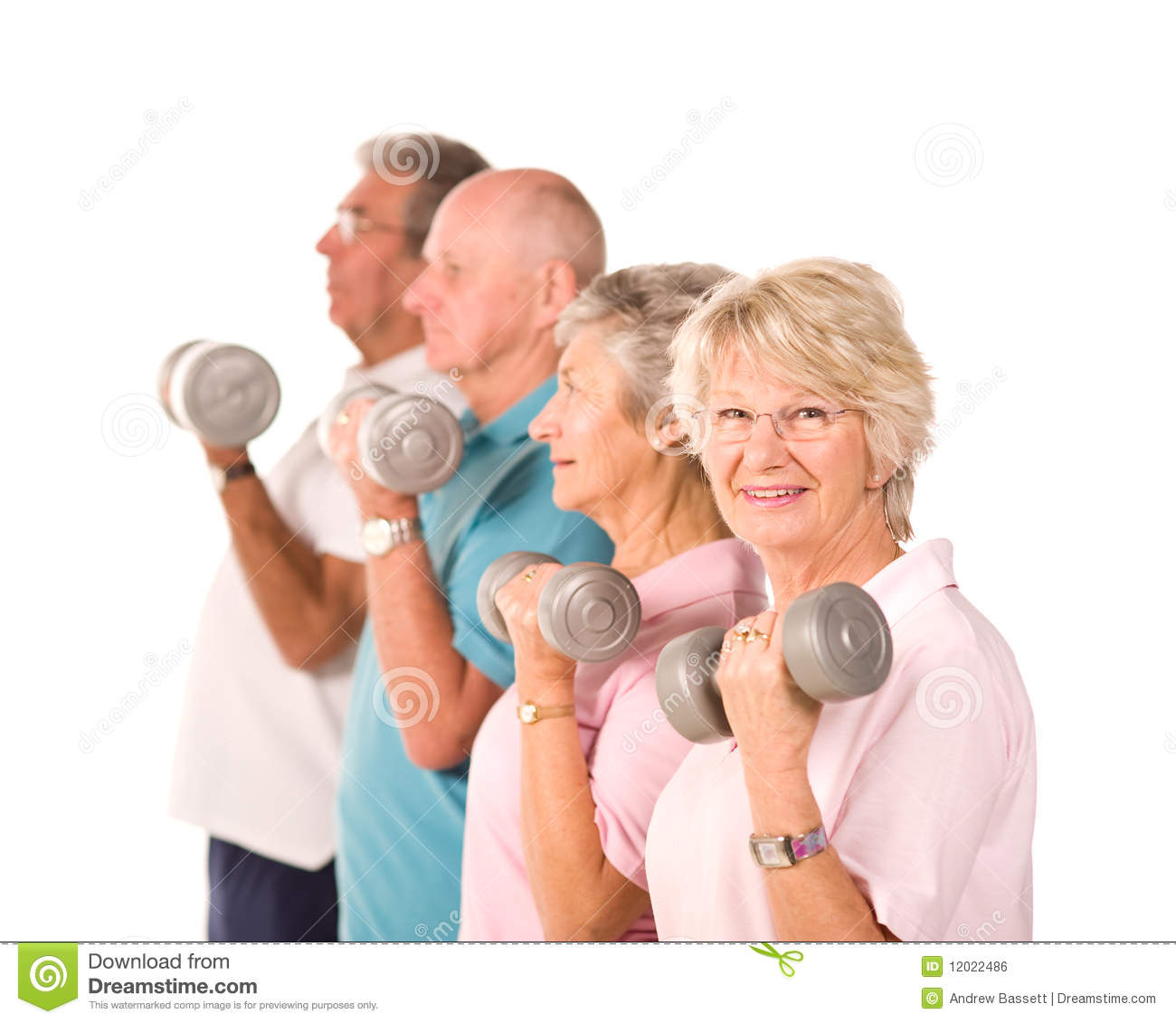 senior older people lifting weights royalty free stock
