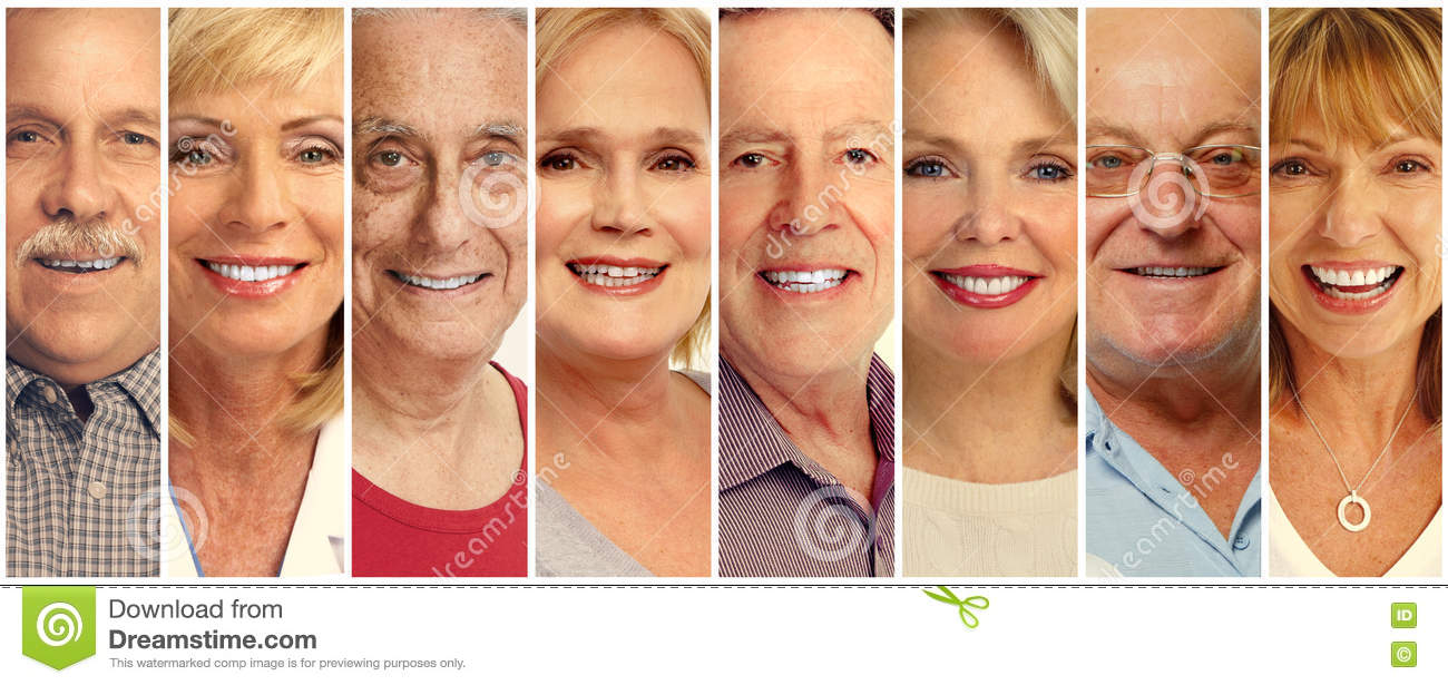 Senior people faces collection