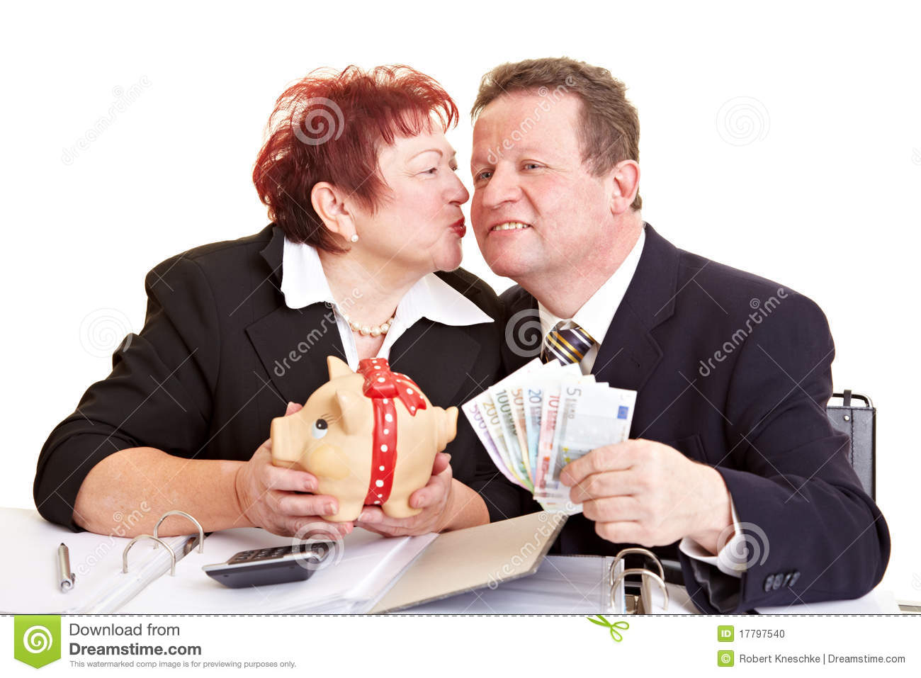 Senior People With Money And Piggy Stock Photo Image