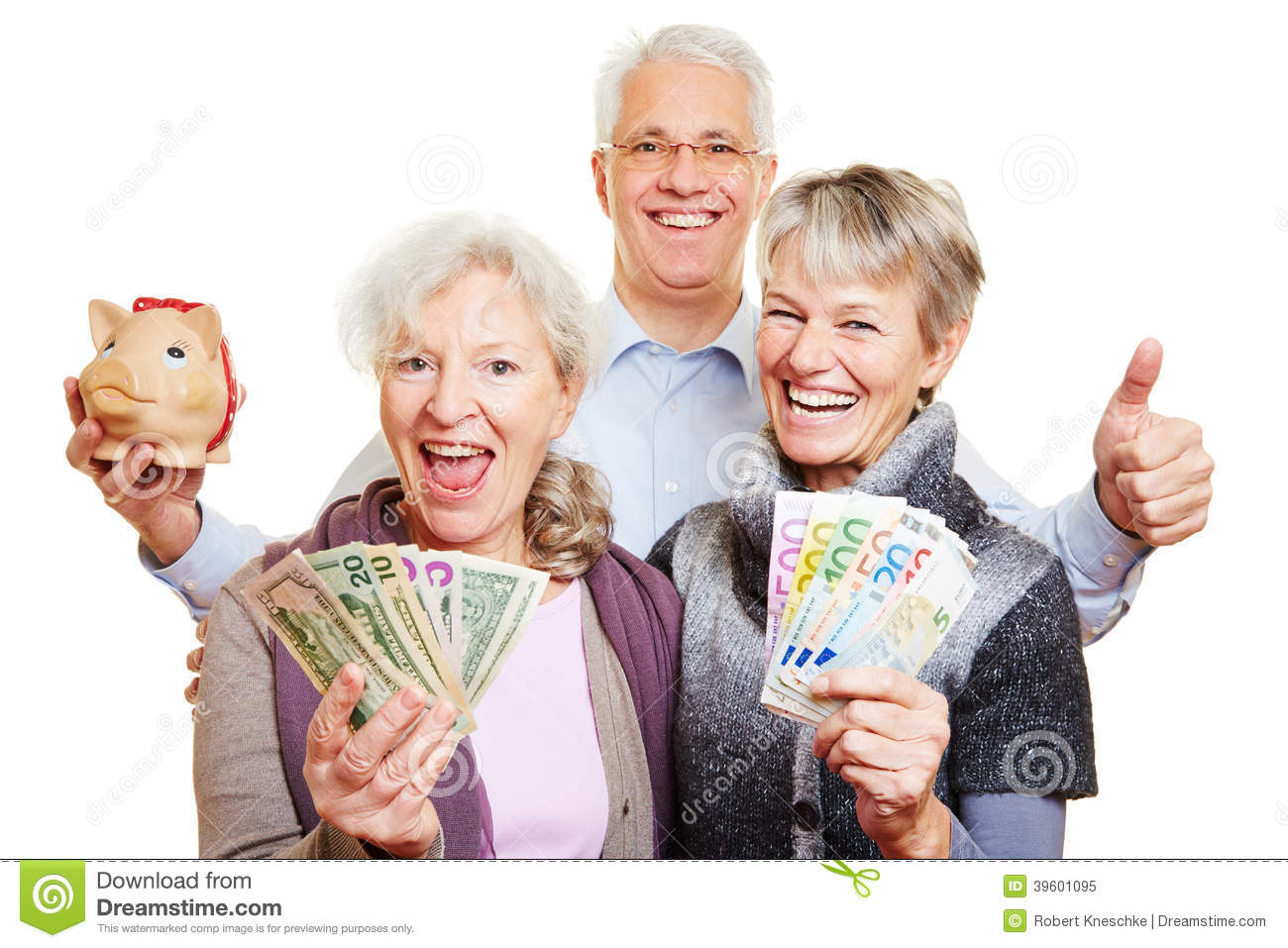 Senior People With Money And Piggy Stock Image Of