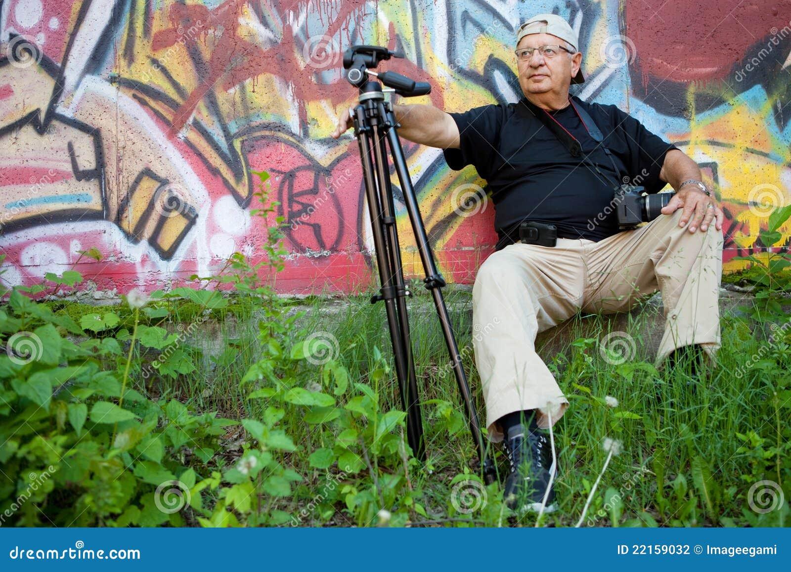 Senior photographer relaxing