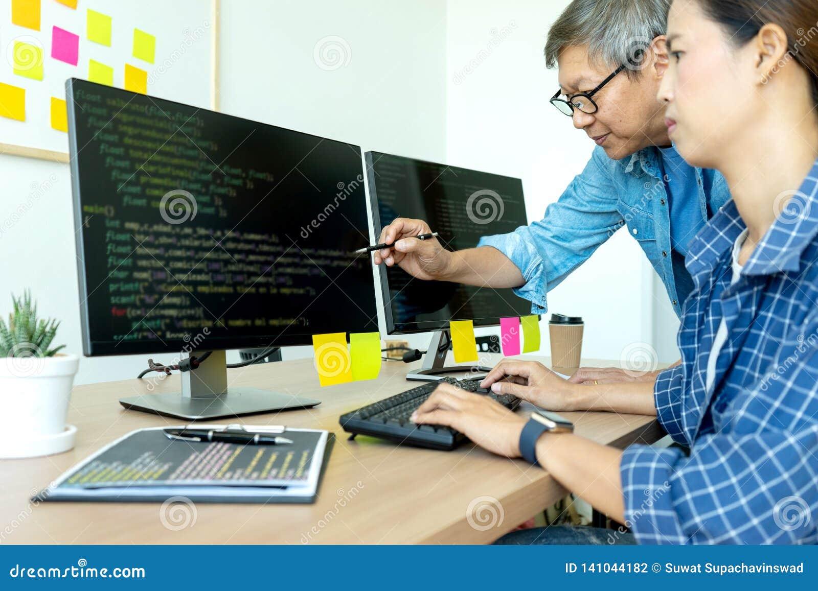 senior programmer work with Developing programming