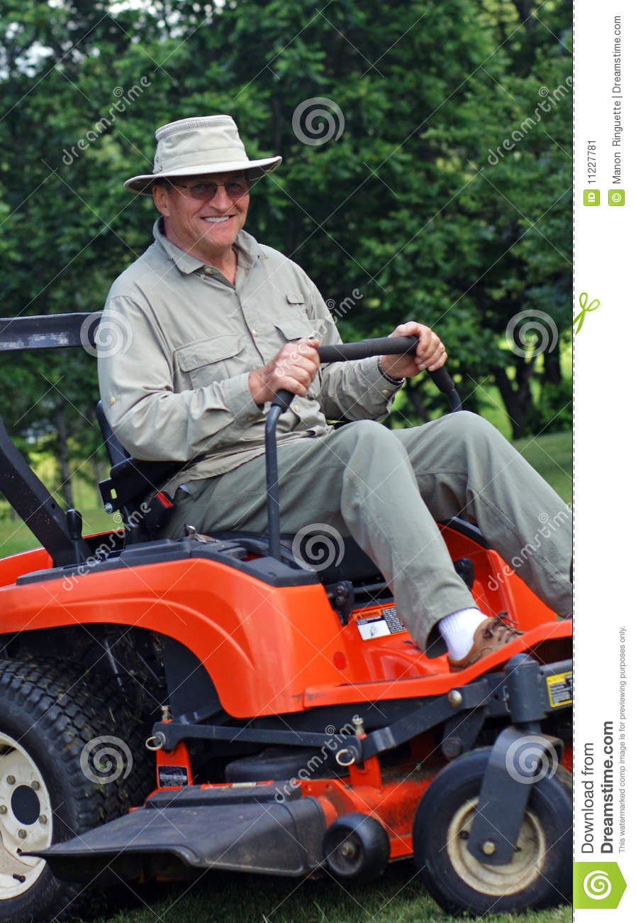 Senior On Riding Mower Stock Image Image 11227781