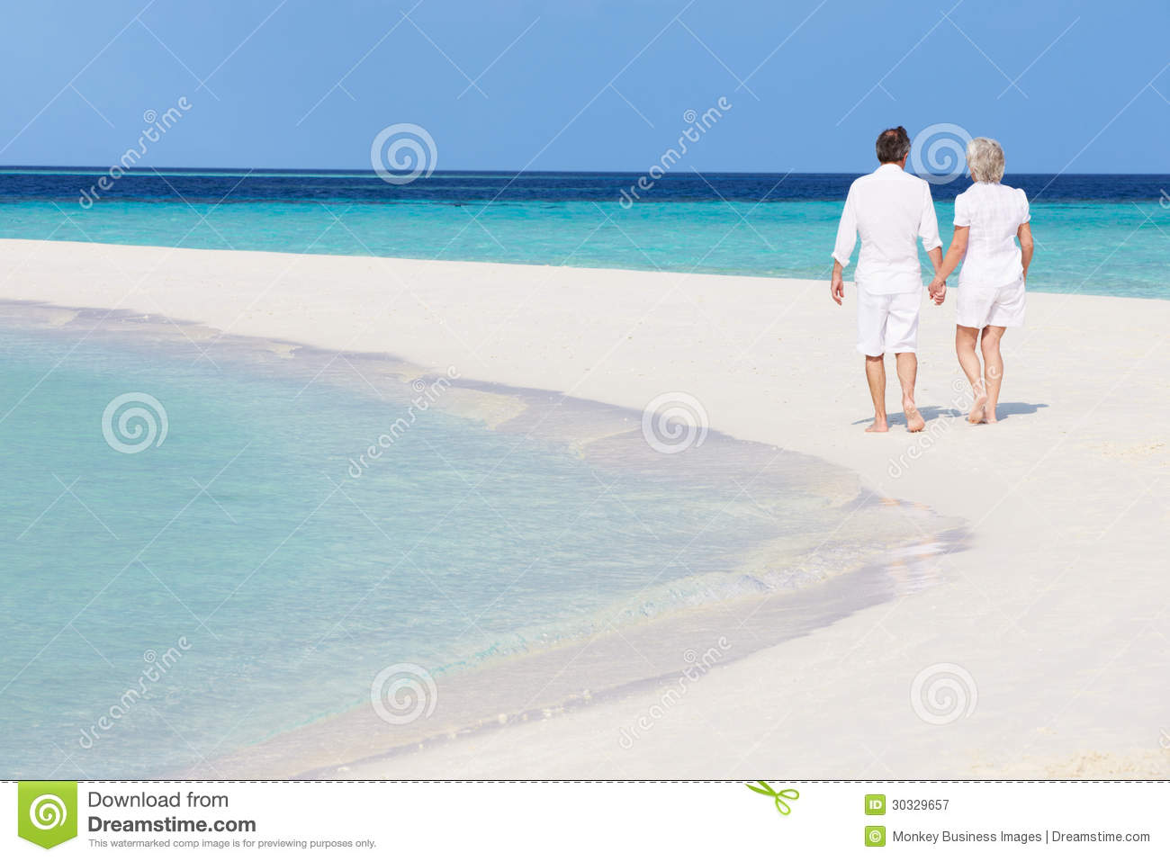 Romantic Pictures Of Tropical Beaches: Senior Romantic Couple Walking On Beautiful Tropical Beach