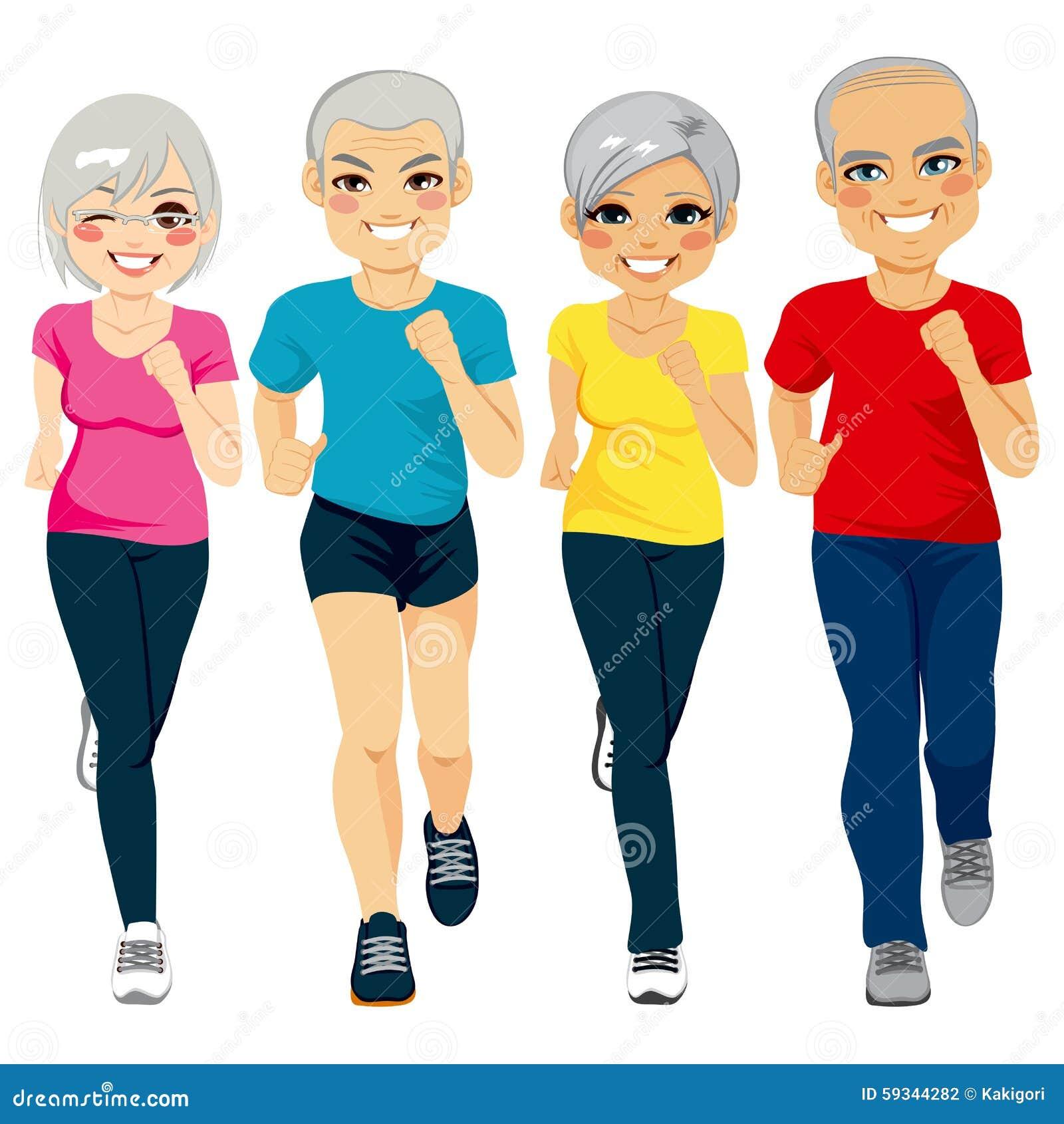 Senior Runner Group stock vector. Illustration of health ...