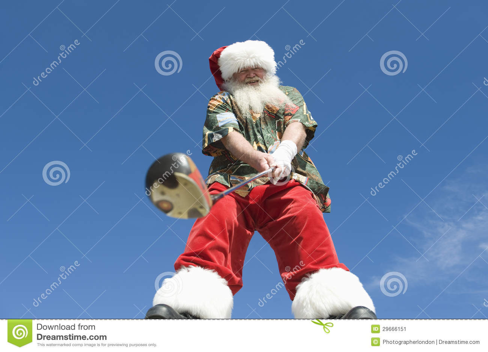 Senior Santa Claus Holding Golf Club