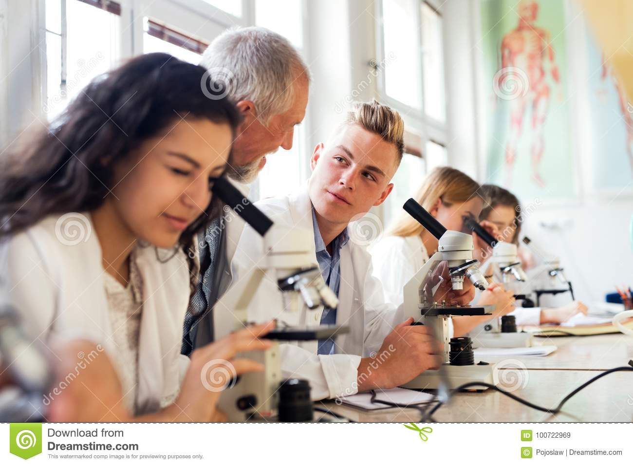 Senior teacher teaching biology to students in laboratory.