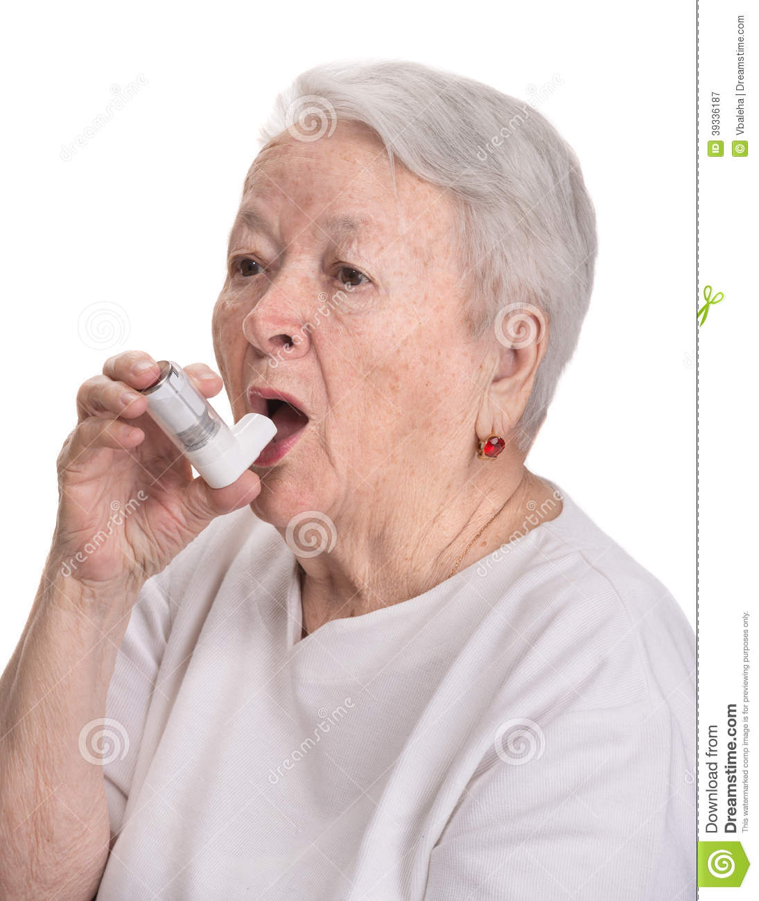Senior Woman With Asthma Inhaler Stock Photo - Image: 39336187