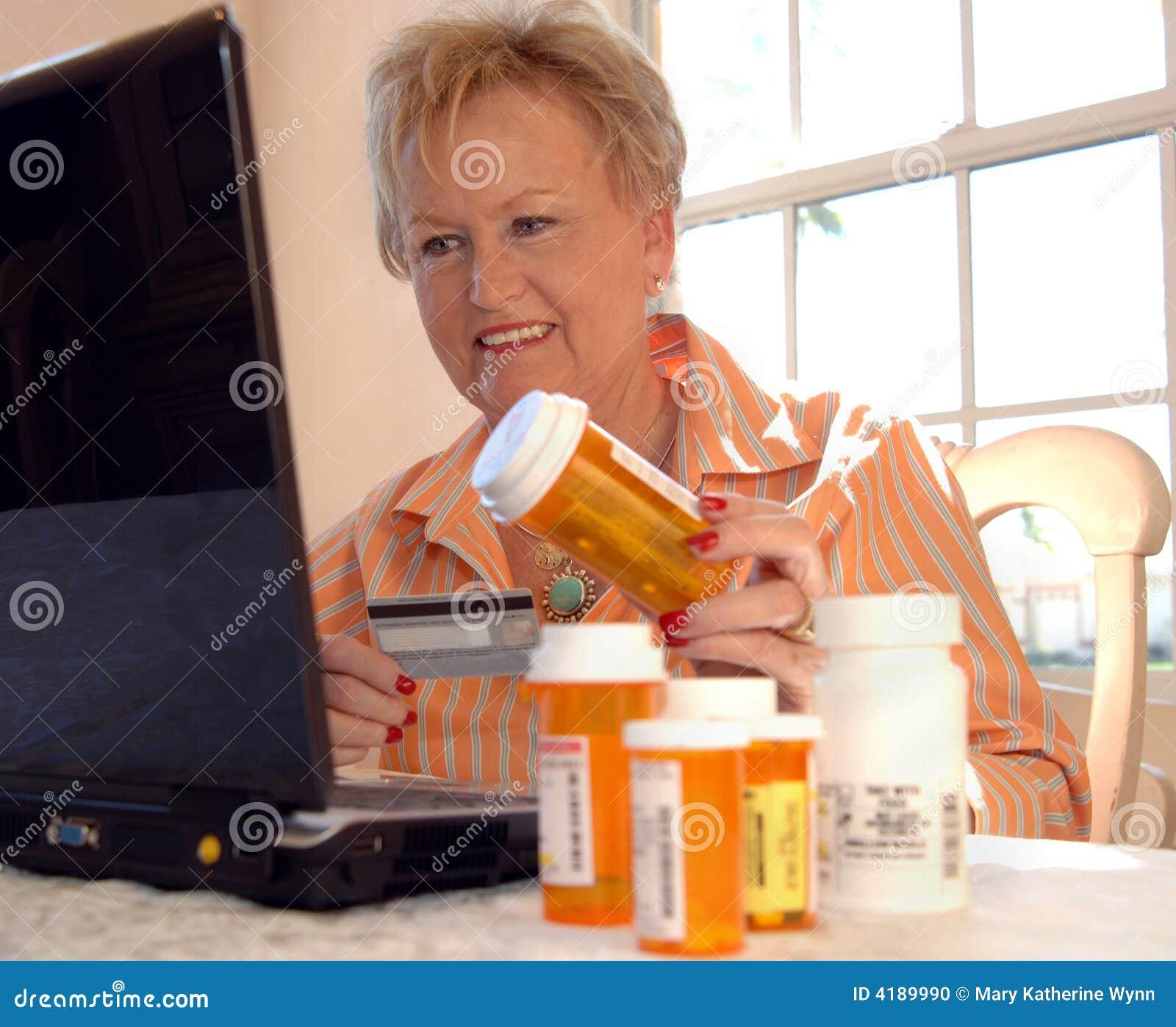 Senior woman buying medicine