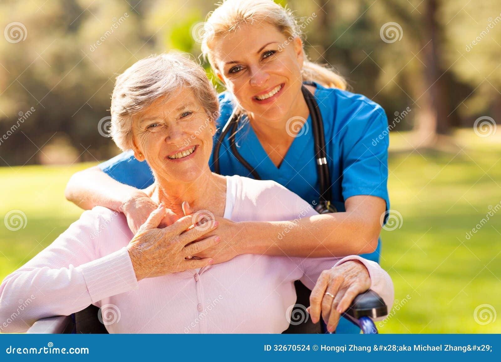 Senior woman caregiver