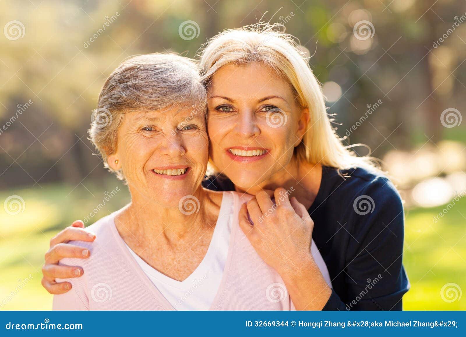 Senior woman daughter