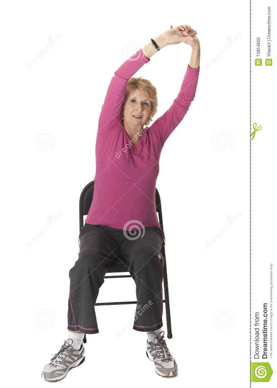 Chair exercises for seniors - Royalty Free Stock Photo Download Senior Woman Doing Stretch Exercise In Chair