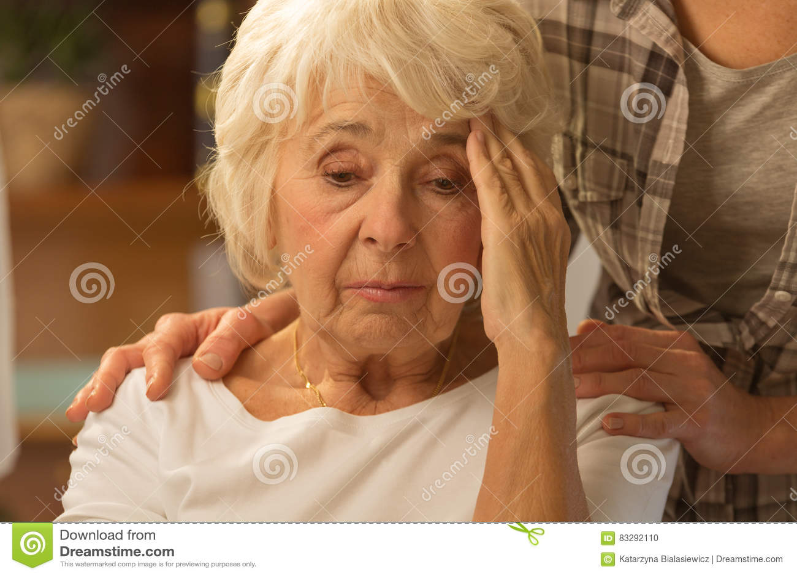 Senior woman feeling discomfort