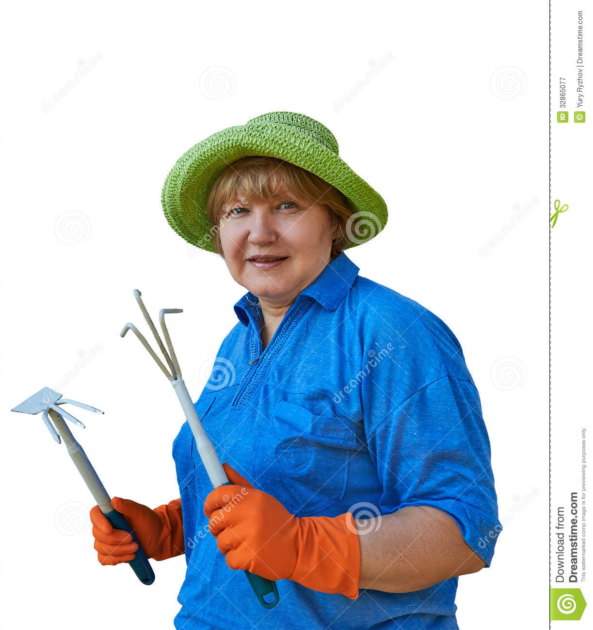 Senior woman with garden tools royalty free stock for Gardening tools for seniors