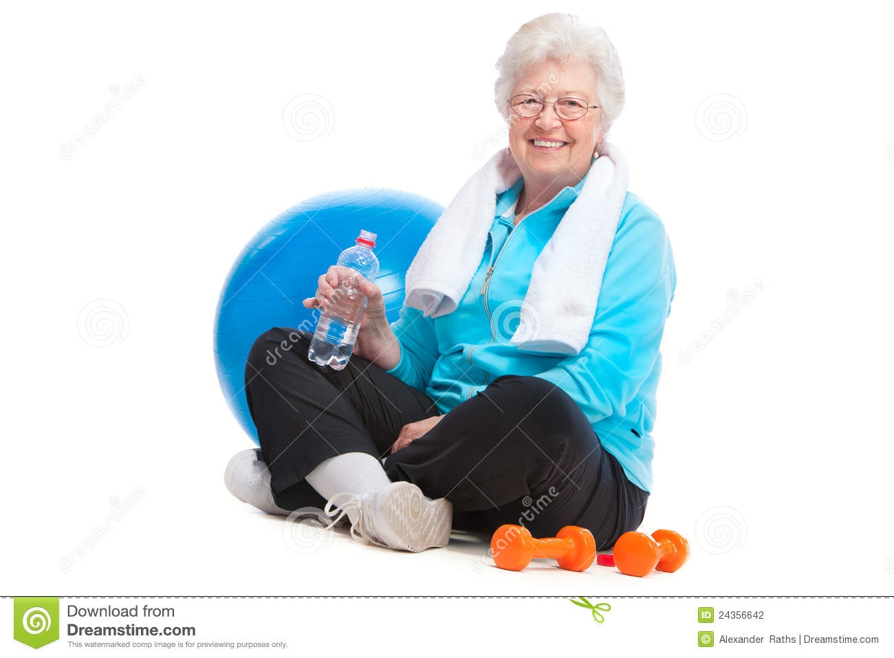 Senior woman in gym stock photo  Image of holding, caucasian - 24356642