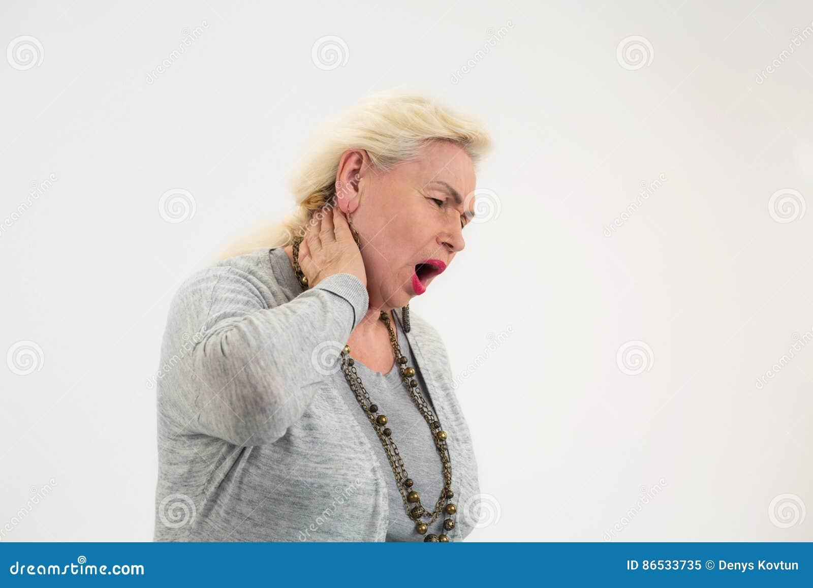Senior woman has neck ache.