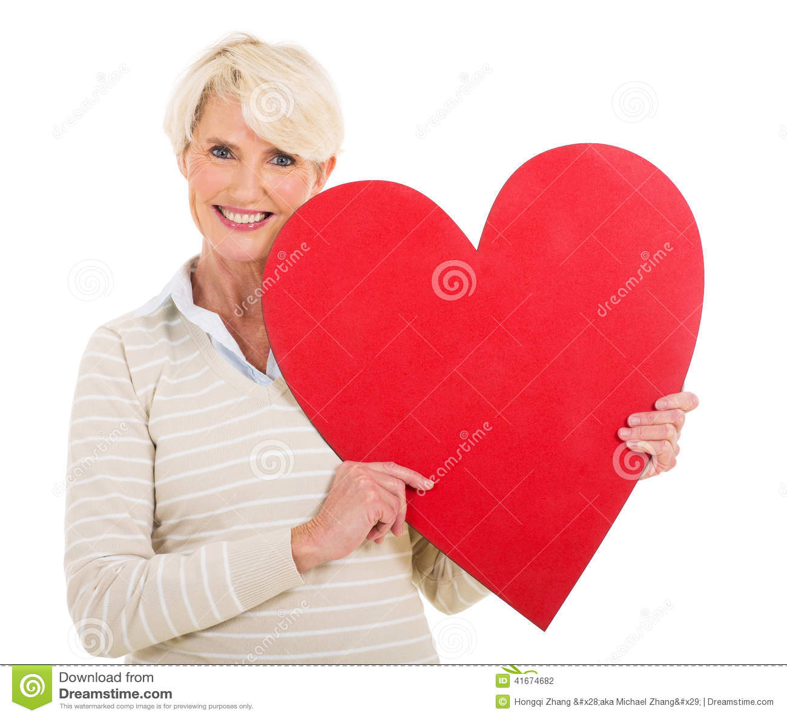 Senior woman with heart shape