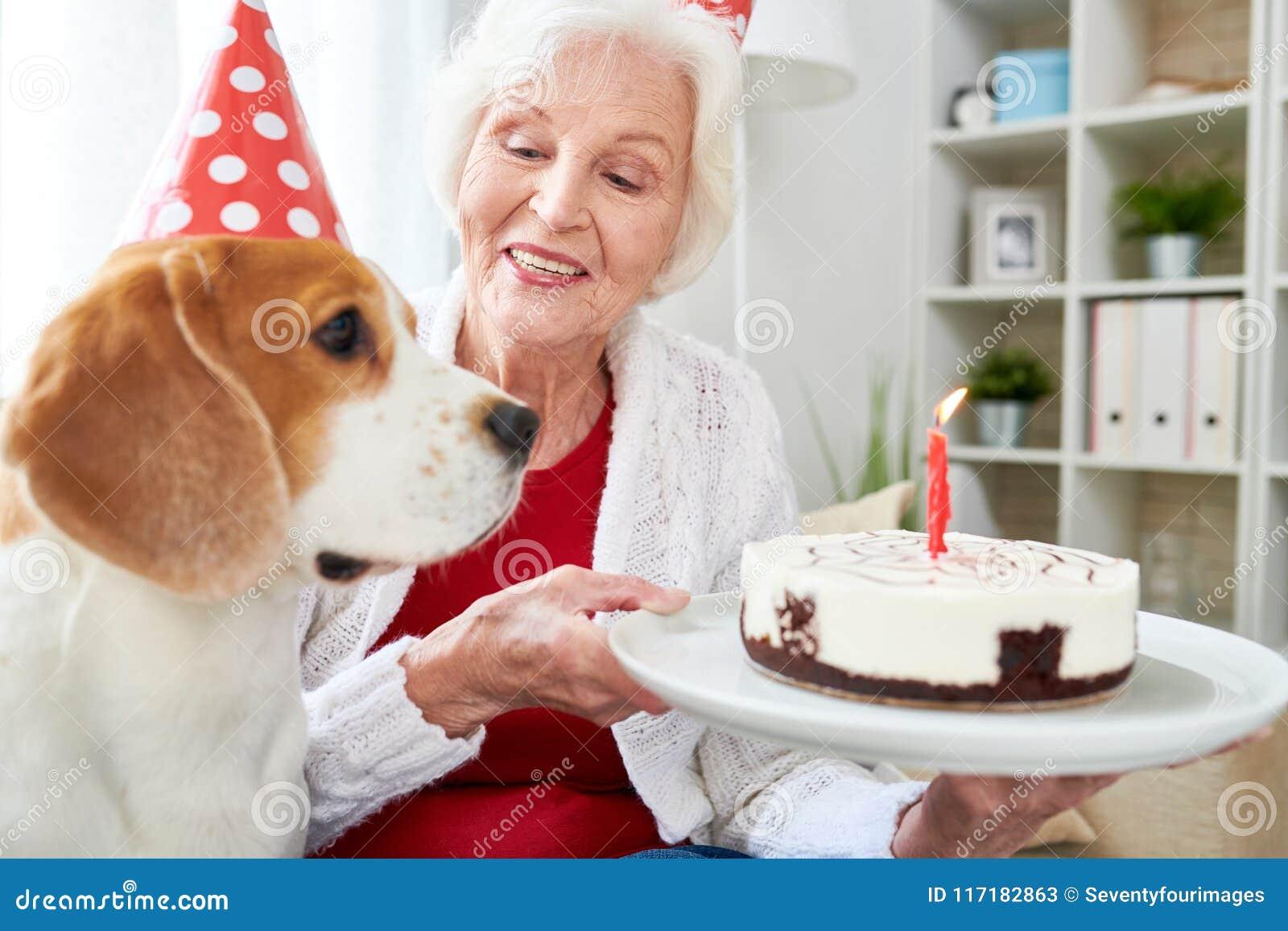 Senior Woman Holding Birthday Cake Stock Image Image Of Elderly