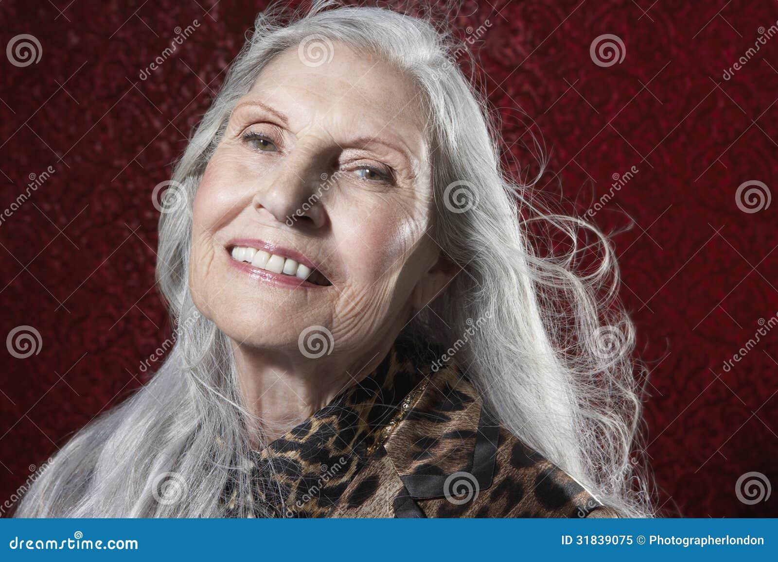 Amazing Senior Woman With Long Gray Hair Smiling Royalty Free Stock Short Hairstyles For Black Women Fulllsitofus