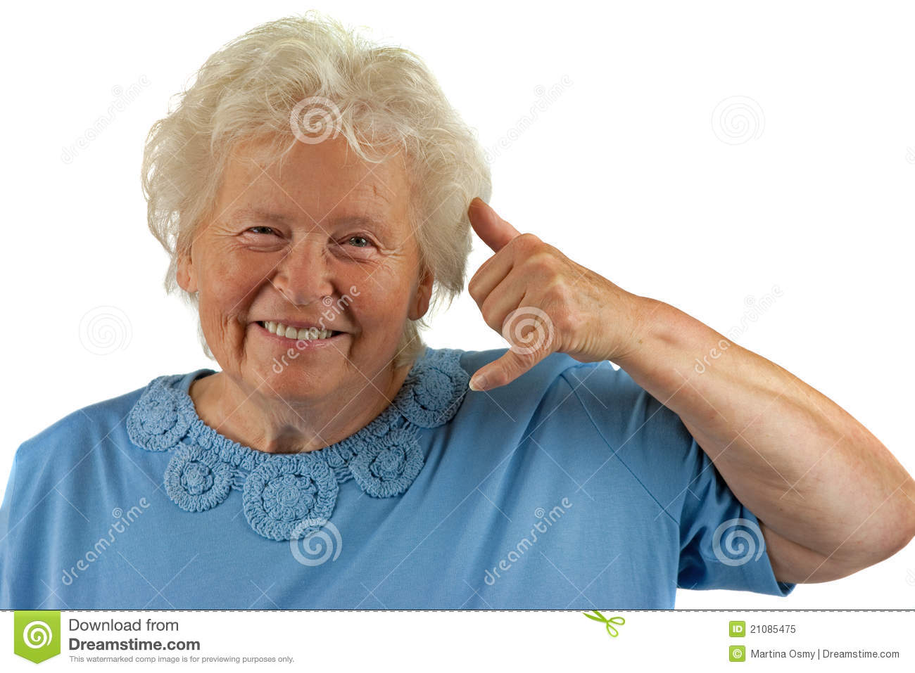 Senior Woman Is Making A Call Me Gesture Royalty Free ...