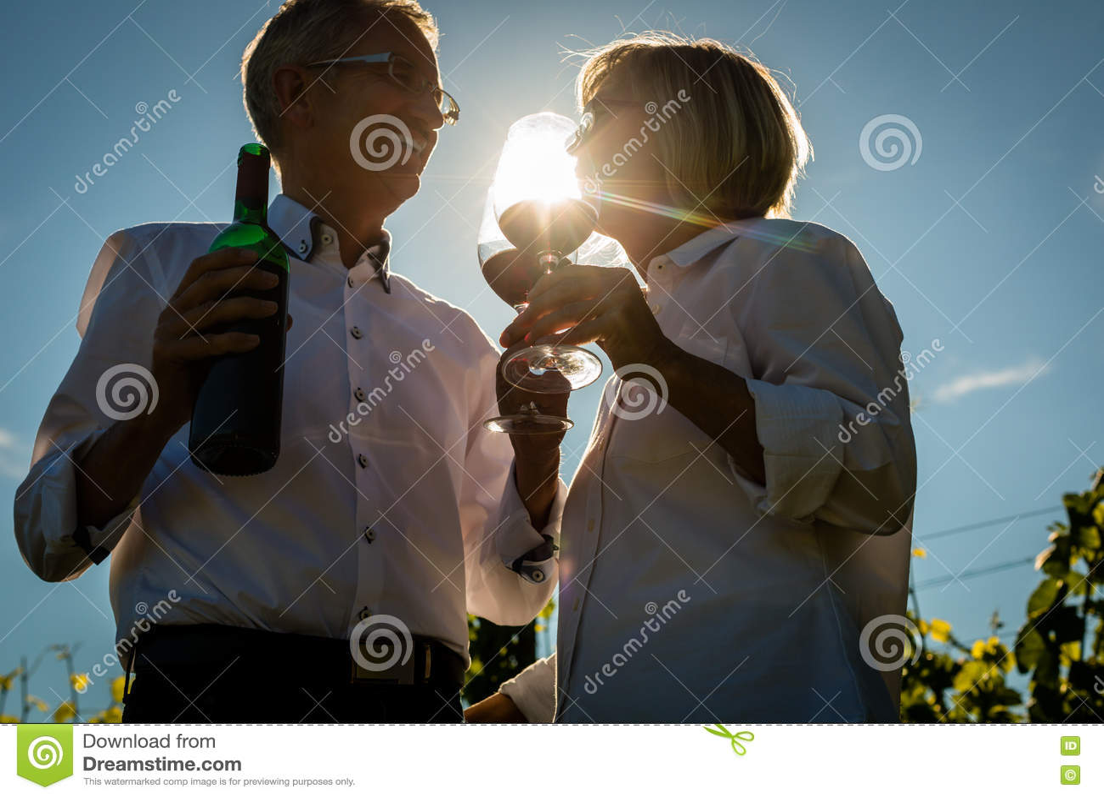 Senior woman and man drinking wine in vineyard