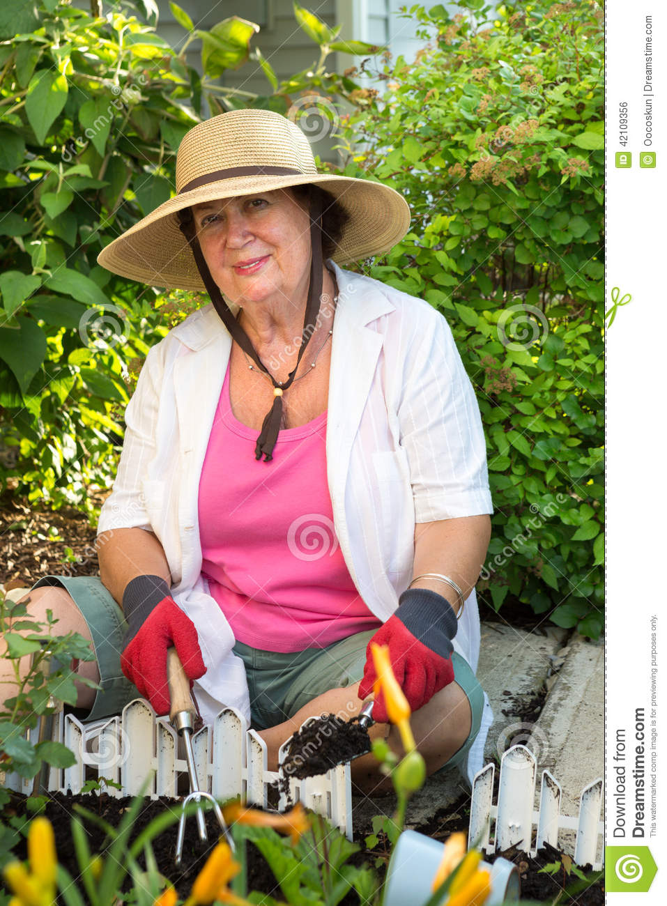 7665c9df8f1 Senior Woman Planting Flowers In The Garden Stock Photo - Image of ...