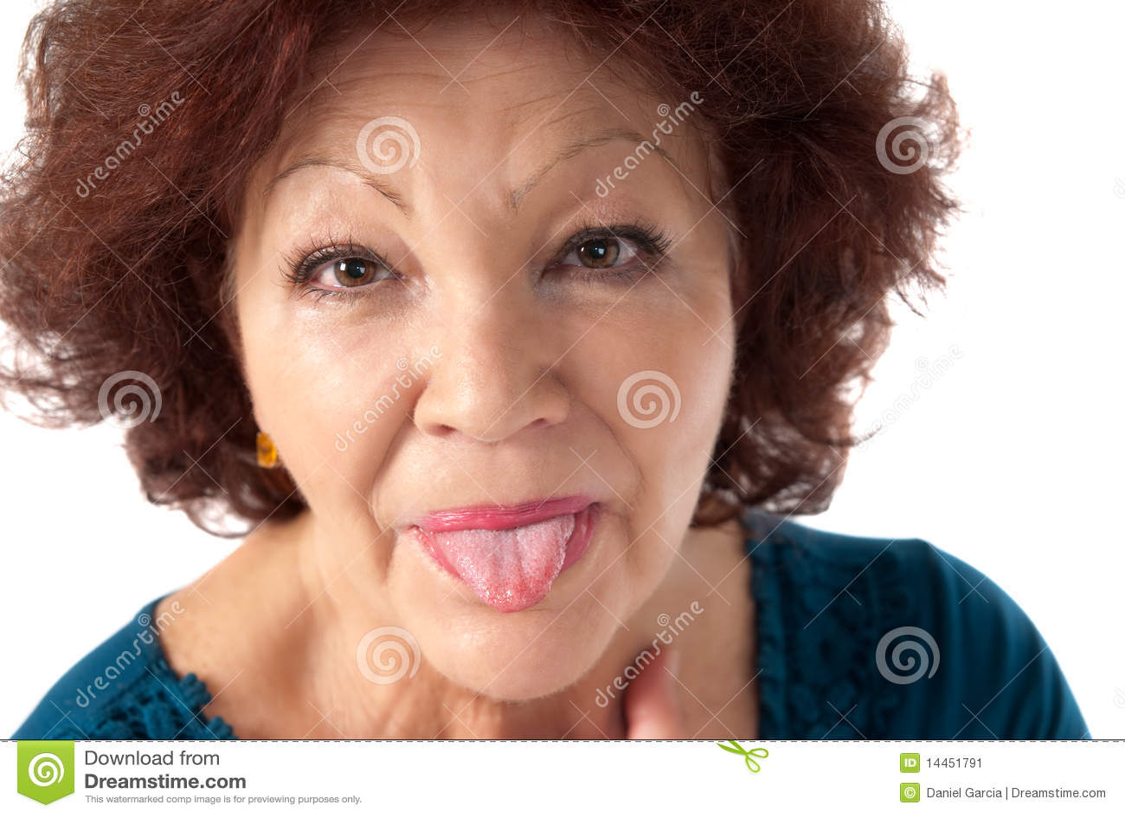 Senior woman razz cheerful isolated on white