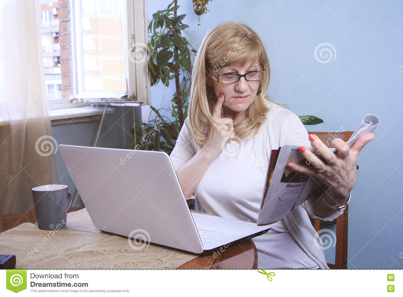 senior w researching stock photo image  senior w researching
