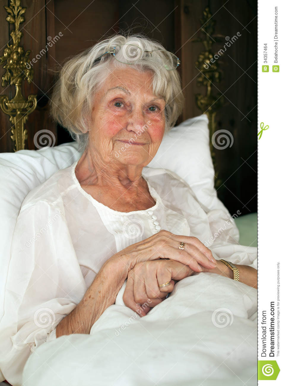 Senior Woman Resting In Bed Stock Photo Image Of