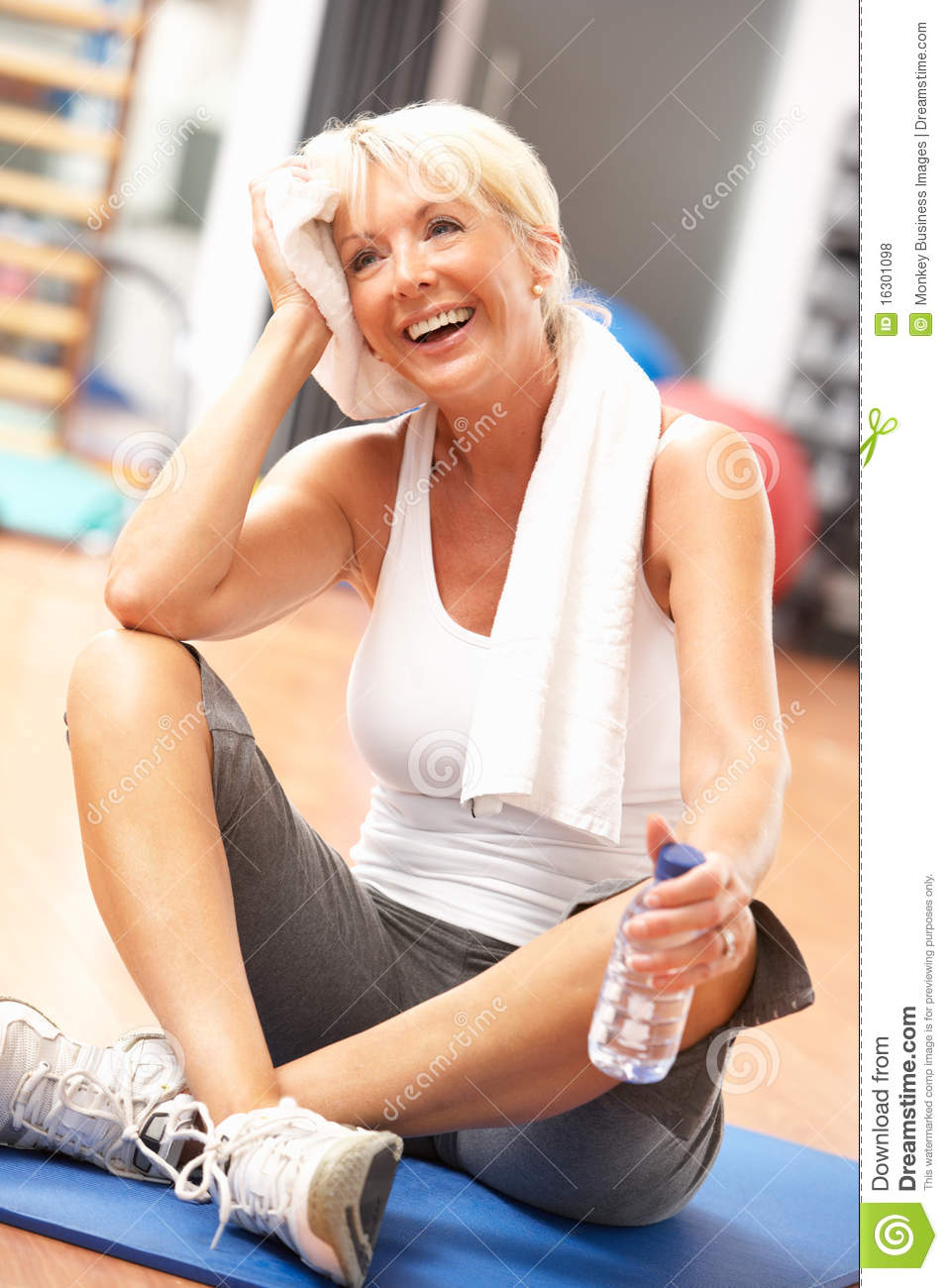 Senior Woman Resting After Exercise Stock Photo Image