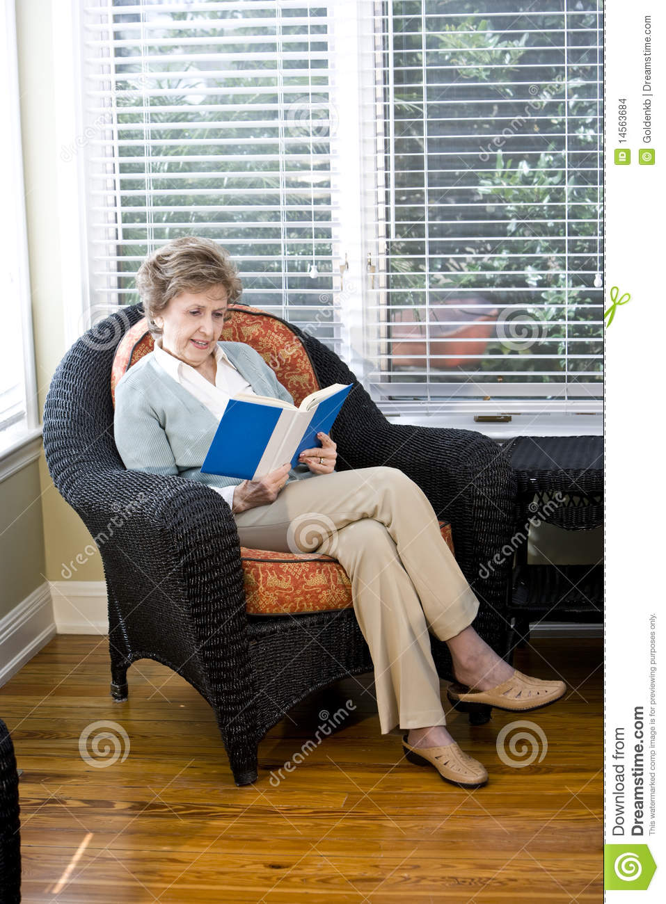 sitting in living room senior sitting on living room chair reading stock 14576