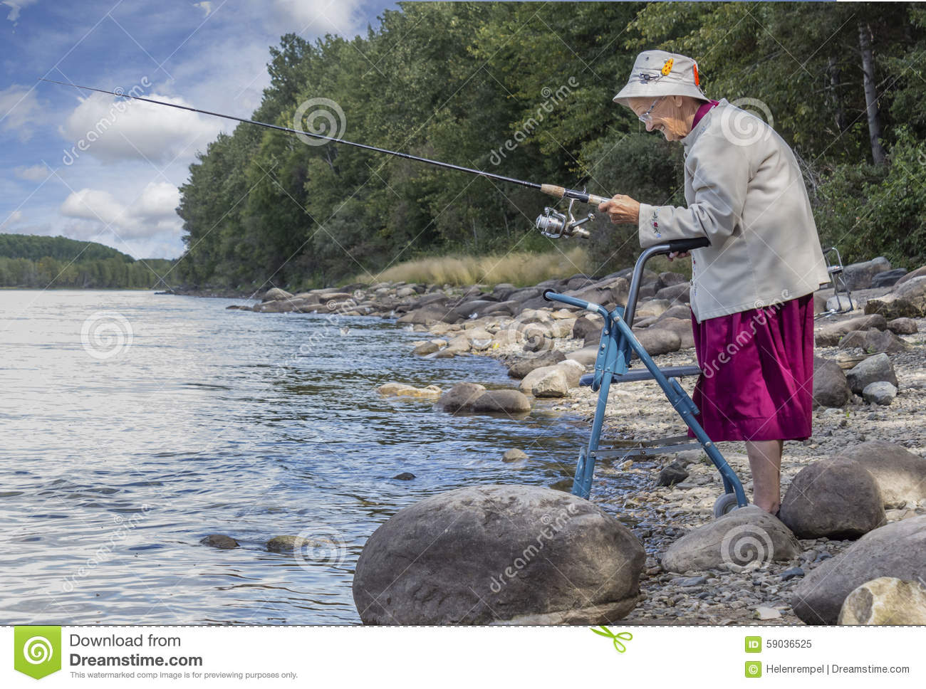 A senior woman standing with her walker by the lake and for Videos of people fishing