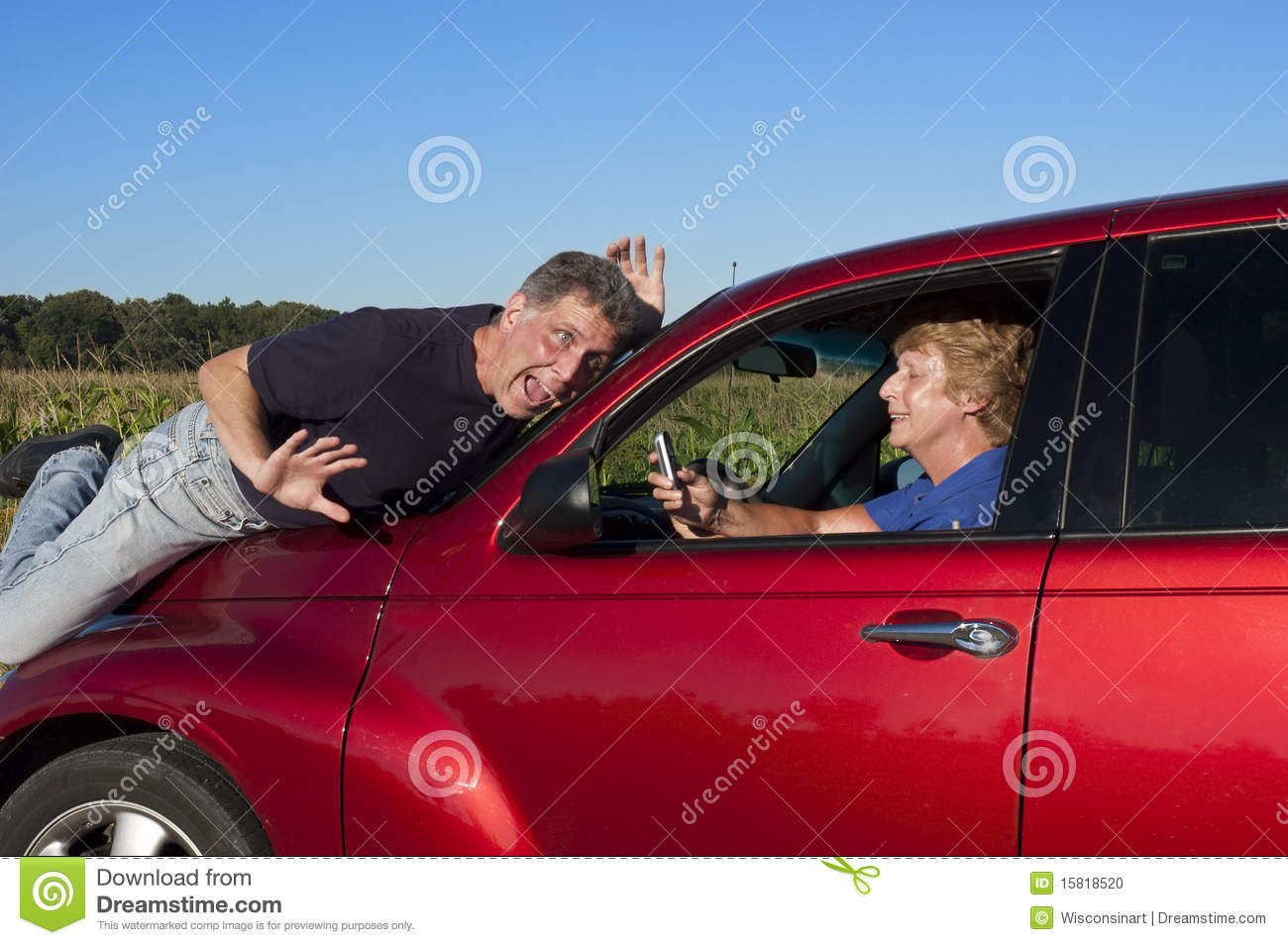 Senior Woman Texting While Driving Car Accident