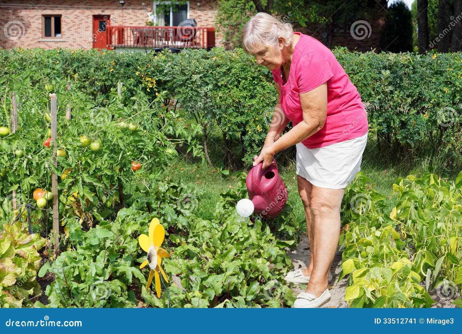 Senior Woman Watering Garden Stock Image