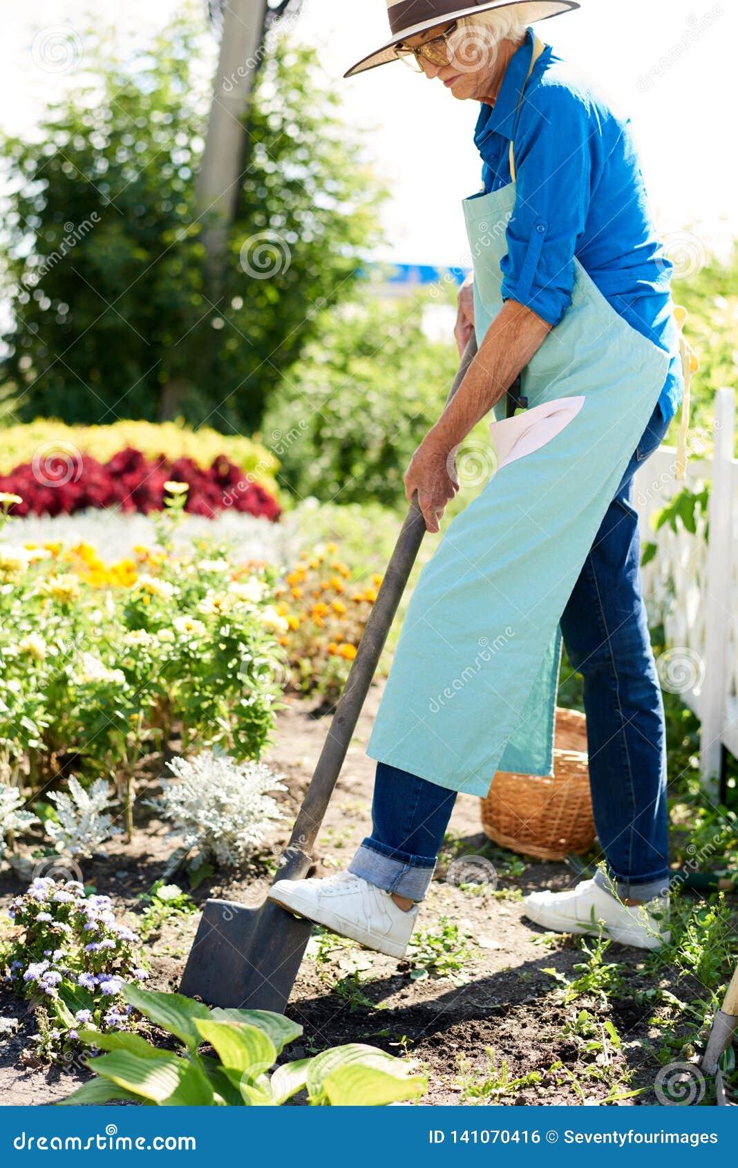 Senior Woman Working in Garden