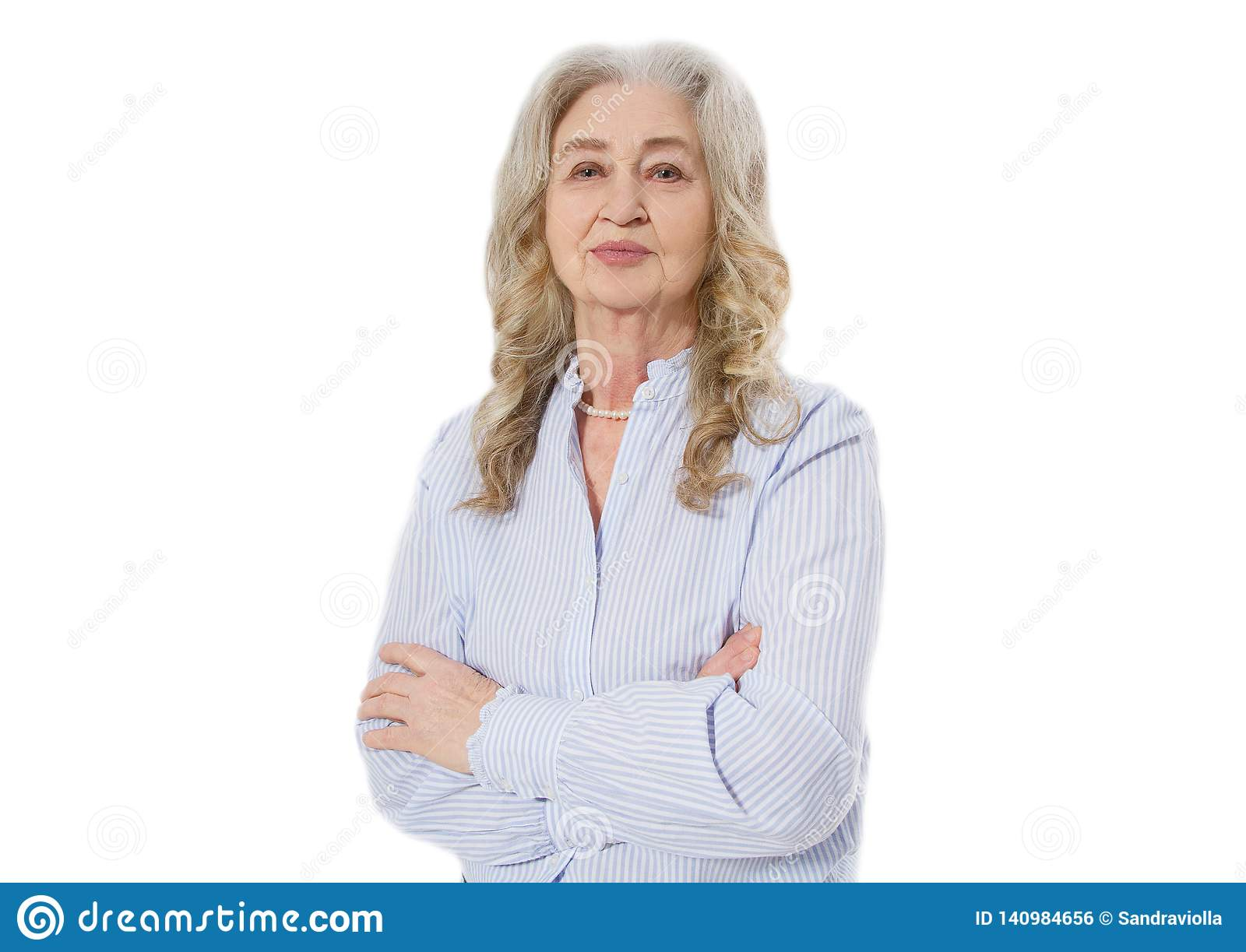 Senior woman with wrinkle face isolated on white background. Mature healthy lady. Copy space. Seniors lifestyle and old people