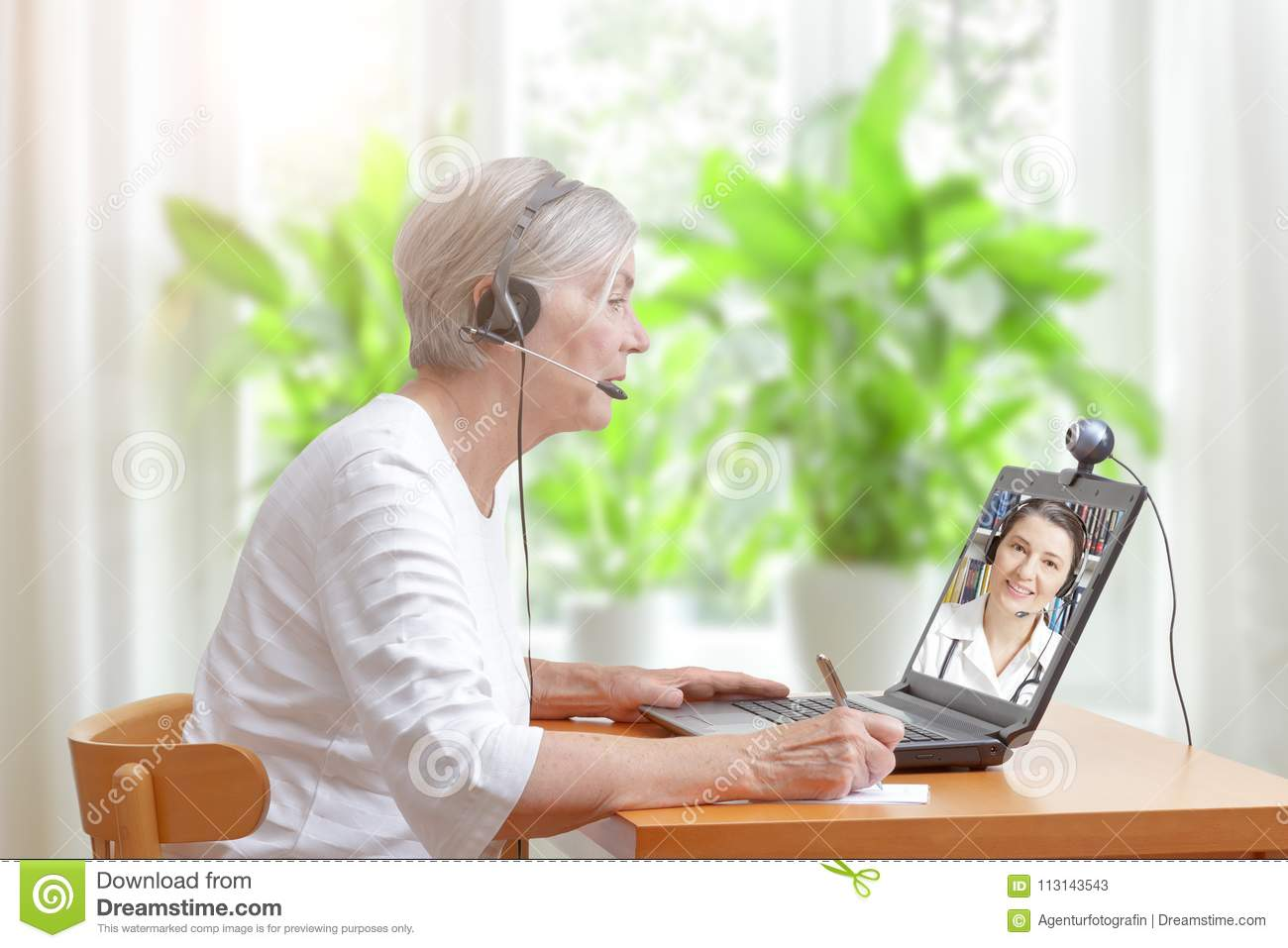 Senior woman doctor video call