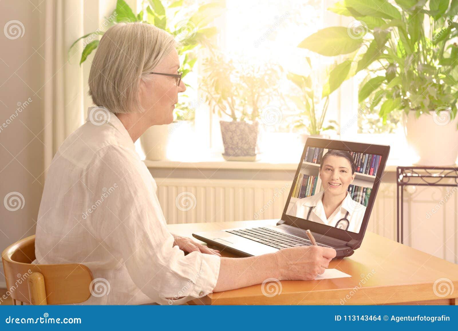 Senior woman doctor online consultation