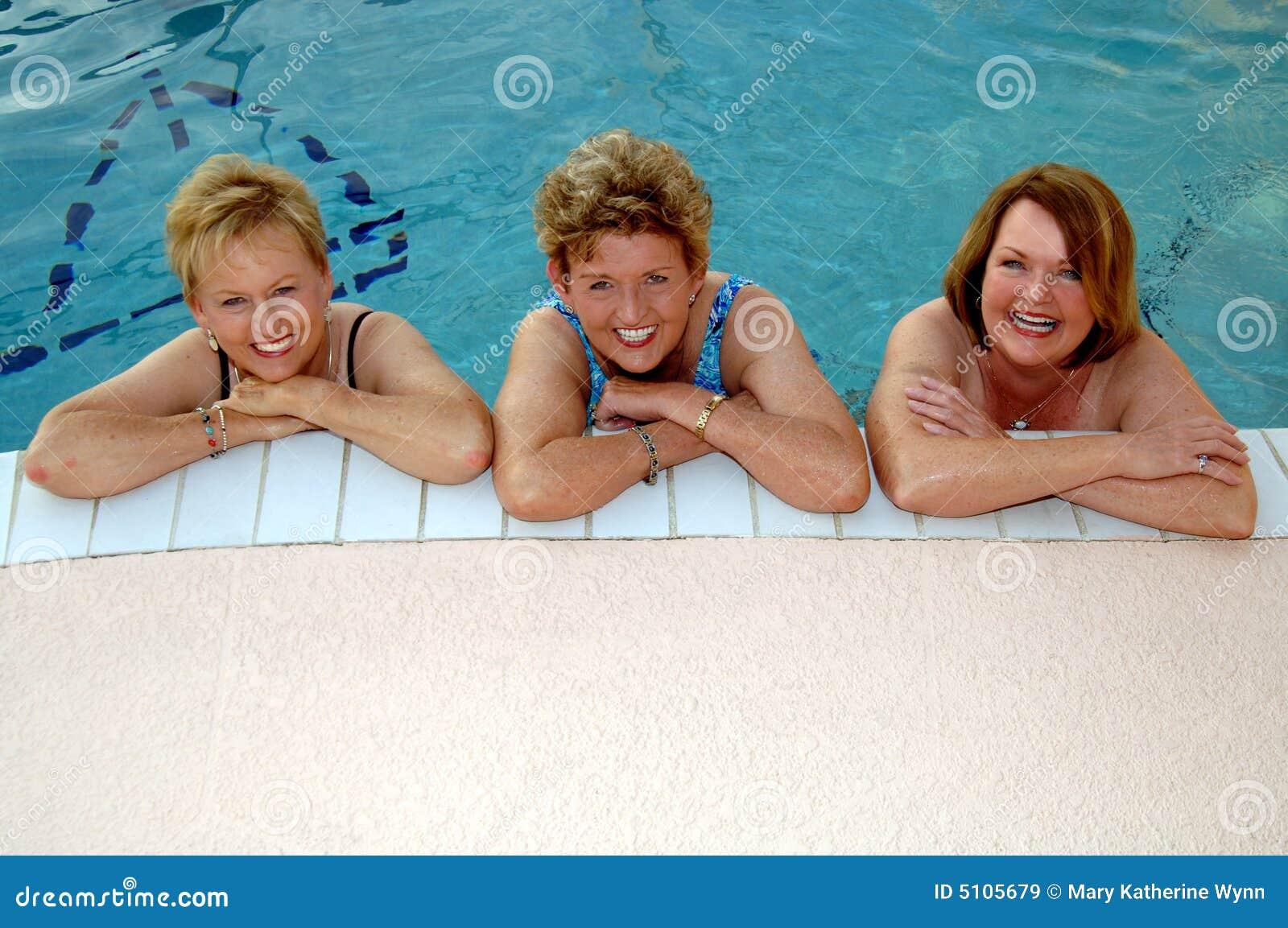 Senior women in the pool