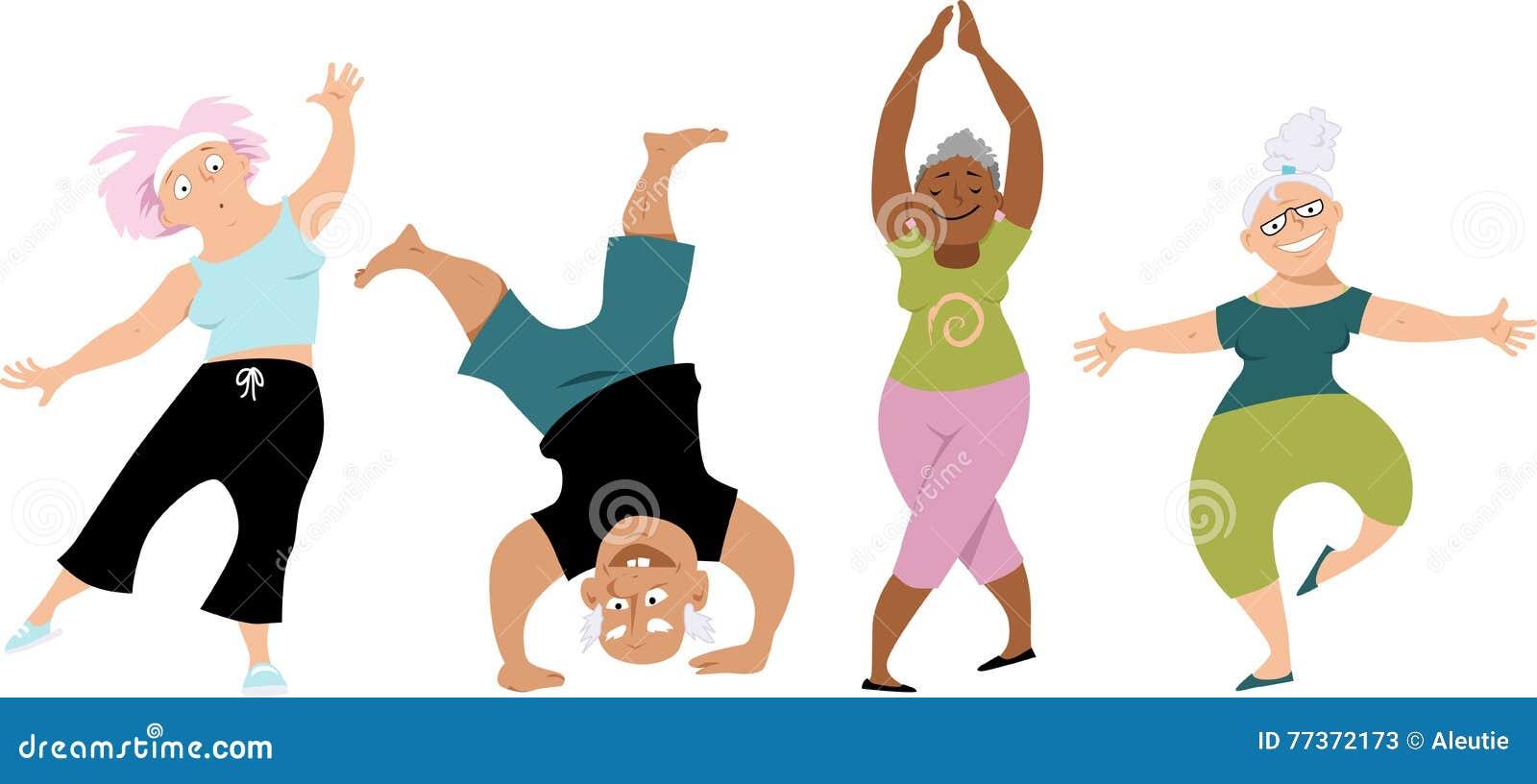 Cartoon Characters Exercising : Senior yoga stock vector illustration of gymnastics