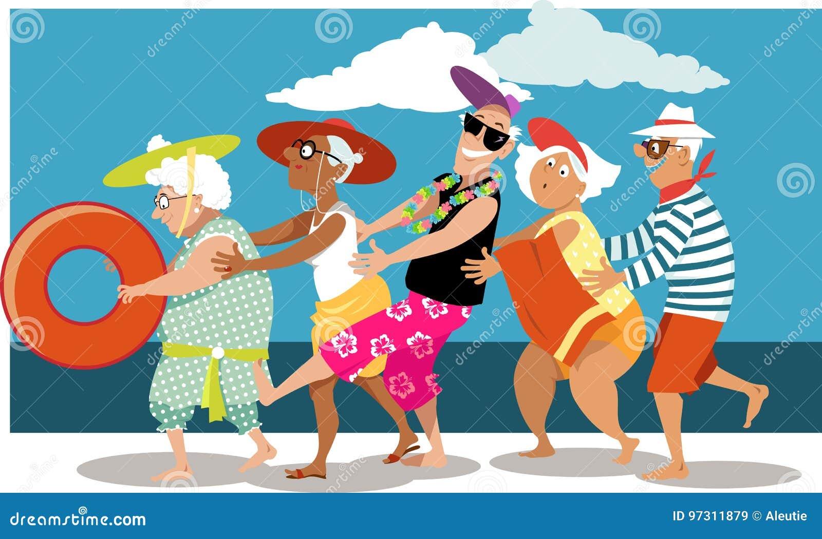 Dream Dance By Line Art Inc : Seniors stock illustrations
