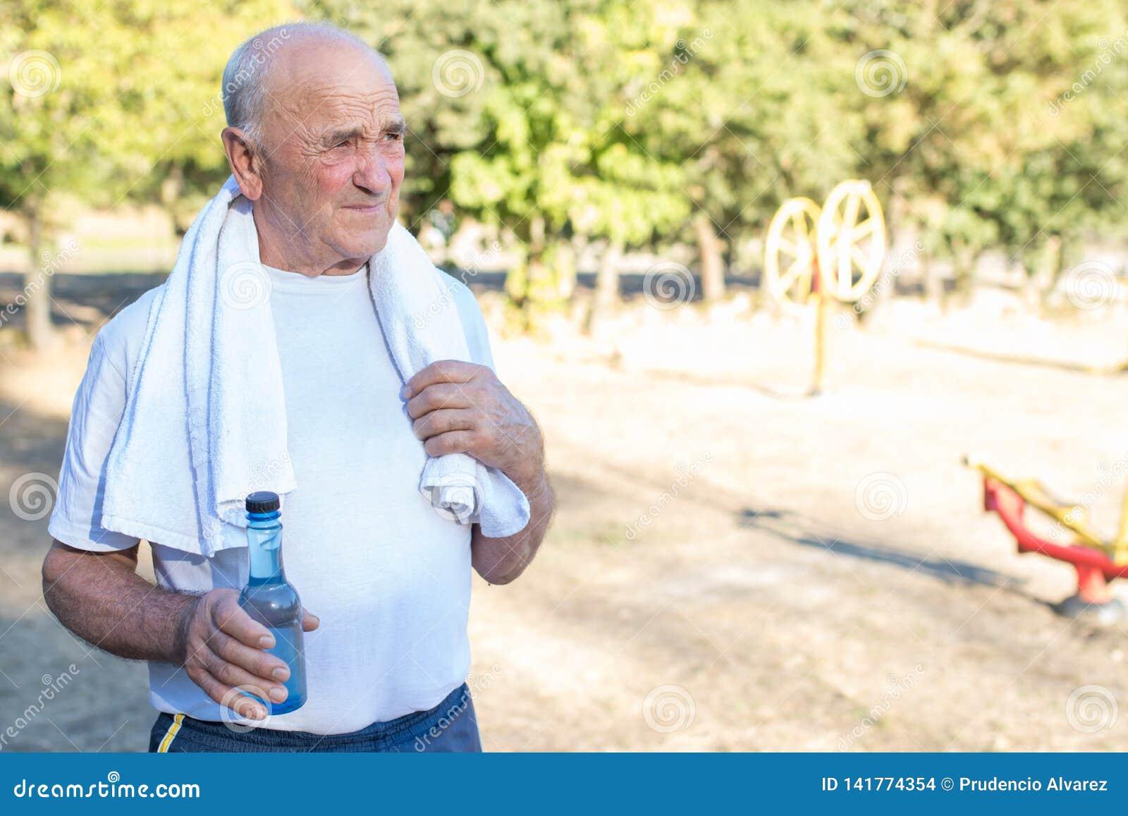 Seniors doing sport outdoors