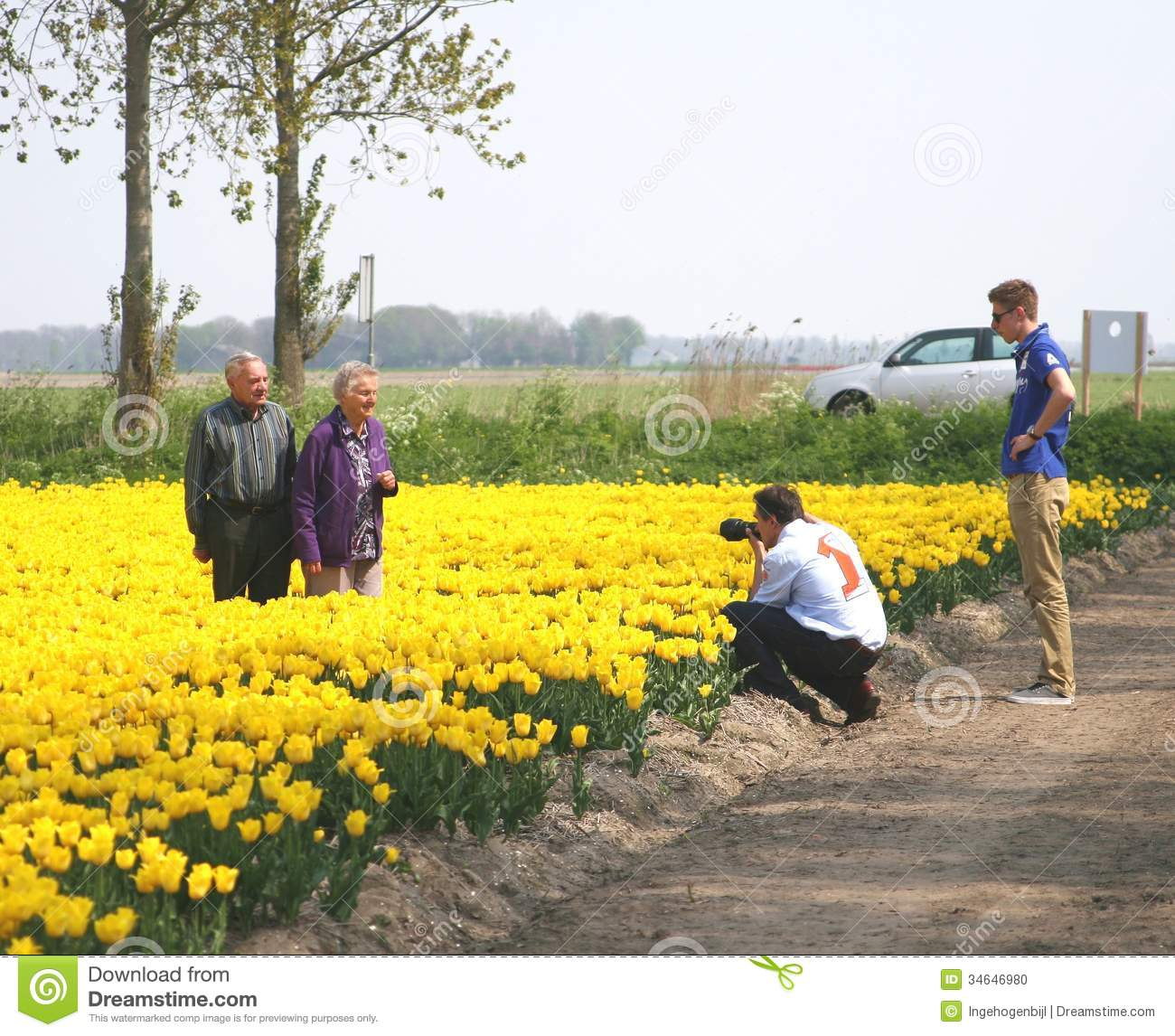 Senior Couple Visit The Bulb Route In The Tulip Fields