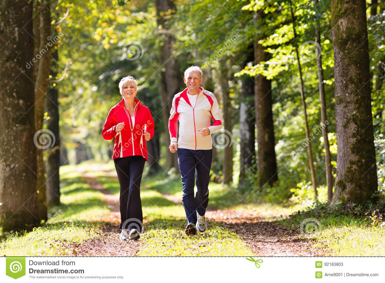 Seniors jogging on a forest road